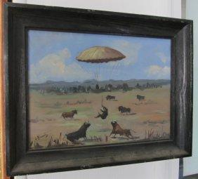 C1900 Signed Blumb Painting Of Bulls & Parachute