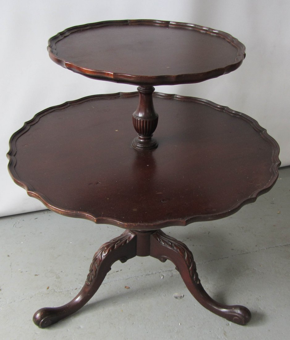 131: C1900 Mahogany 2 tier stand with claw feet