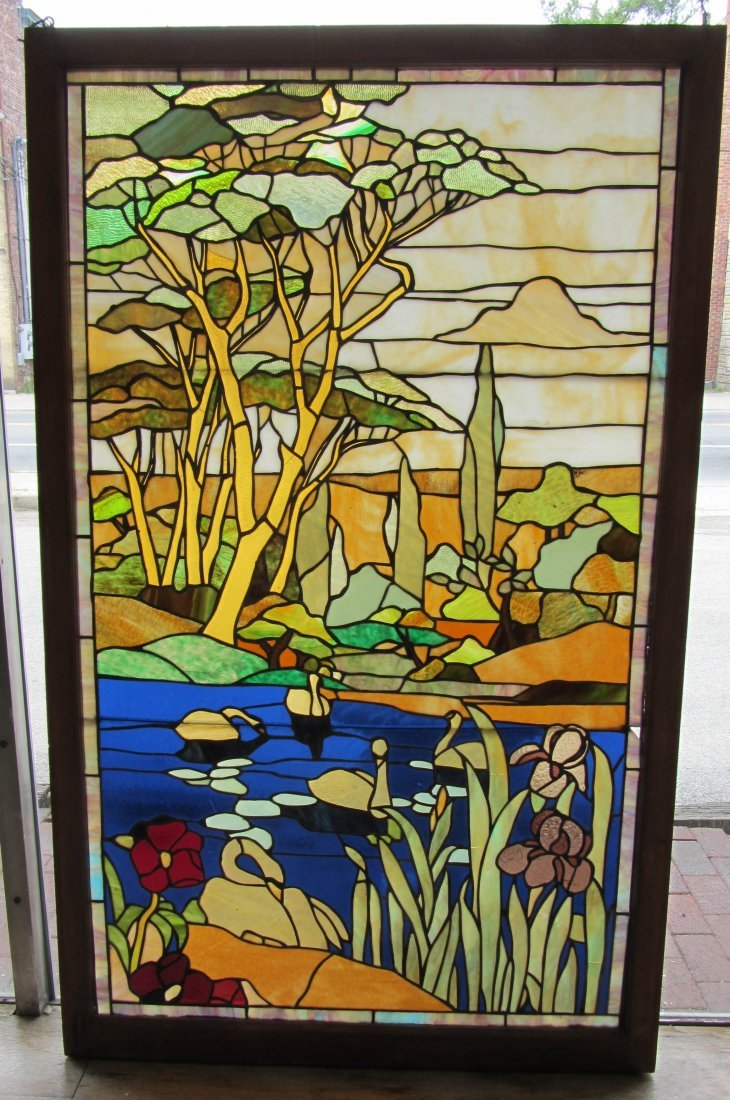 139: C1900 stained glass window of landscape scene