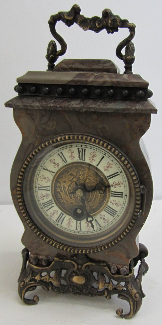 165: 20th C. Marble carriage clock