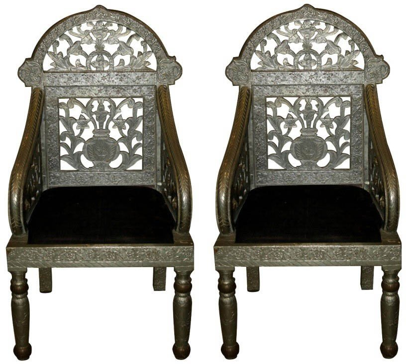177: Pair of ornate tin covered Moroccan armchairs
