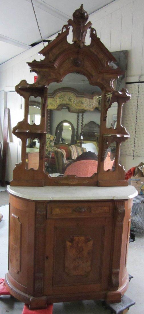 348: 19th C. Walnut Victorian marbletop etagere