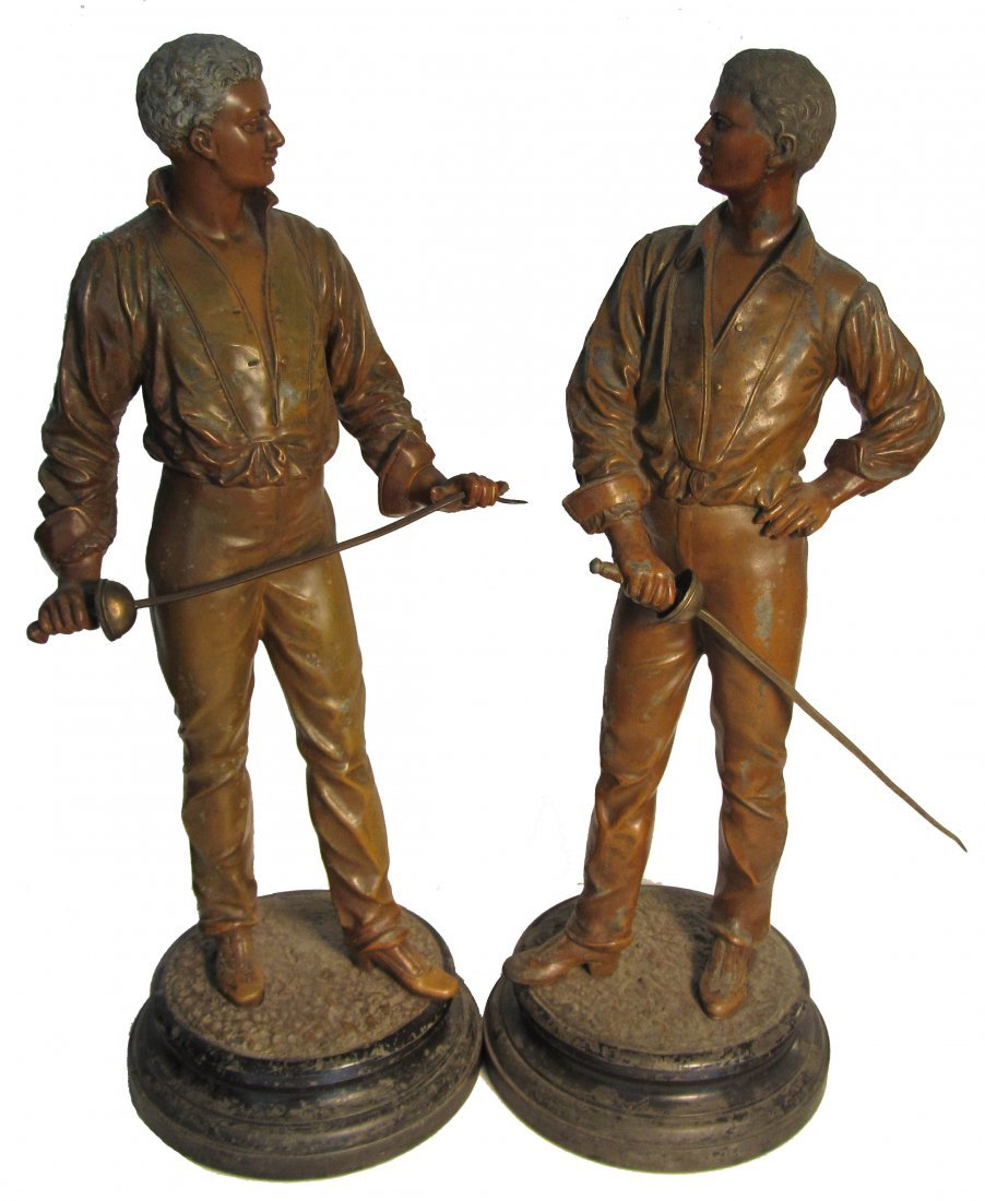 5: Pr. of signed spelter statues of fencers
