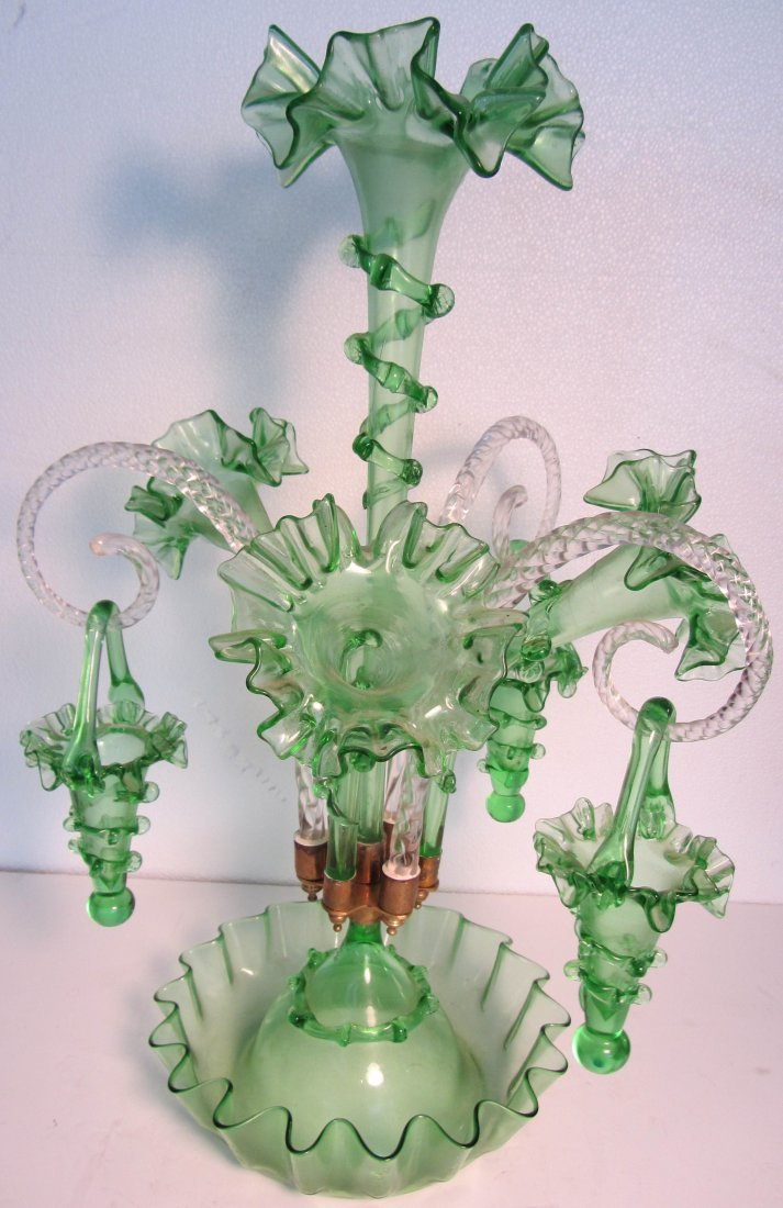 17: 20th C. Green epergne with hanging baskets