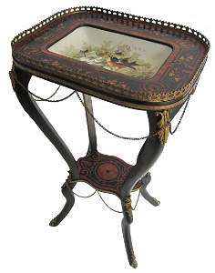 1: 19th C. Ebonized and inlaid with Limoges tray