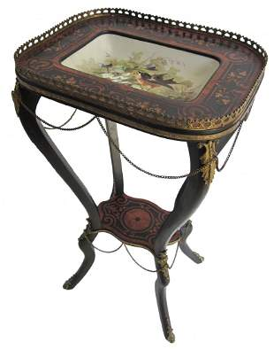 19th C. Ebonized and inlaid with Limoges tray