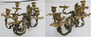 Pr 19th C Fre. Rococo dore bronze candle sconces