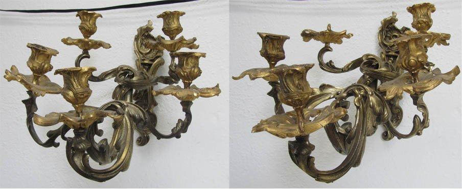 2: Pr 19th C Fre. Rococo dore bronze candle sconces