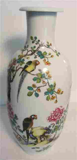 18th C. Vase with Parrots marked Yong Zheng
