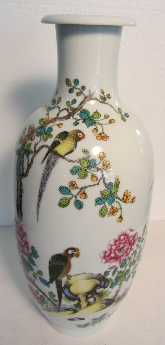 11: 18th C. Vase with Parrots marked Yong Zheng