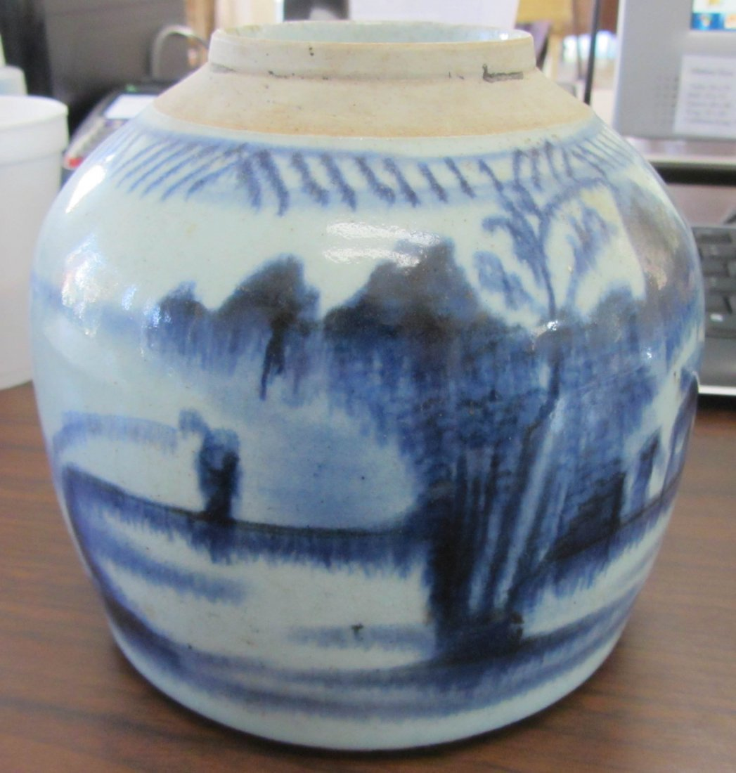 7A: 19th C. Blue and White ginger jar (no lid)
