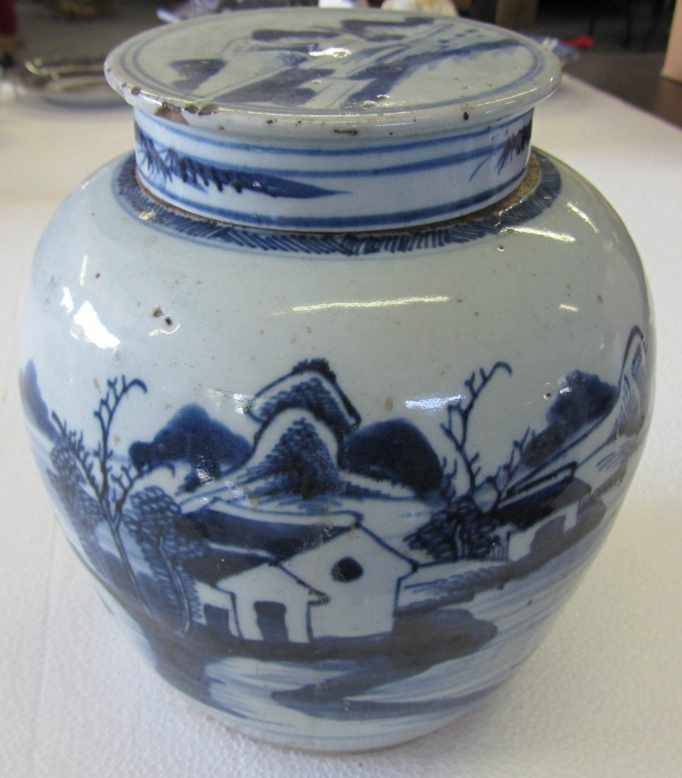 8A: 19th C. Blue and White ginger jar