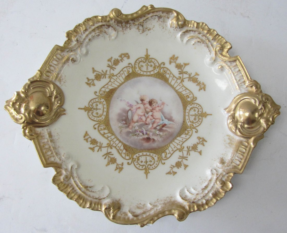 2: Ea. 20th C. Limoges handpainted dish with cupids