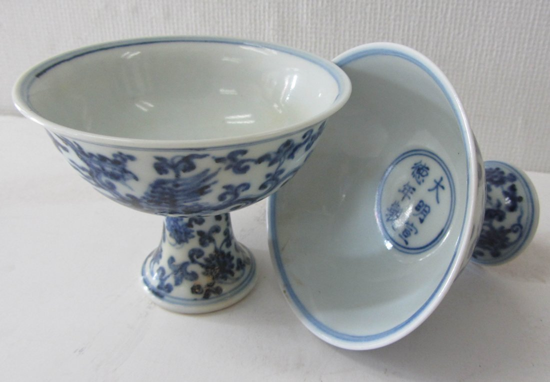 9: Pr. Blue and White oriental stem cups
