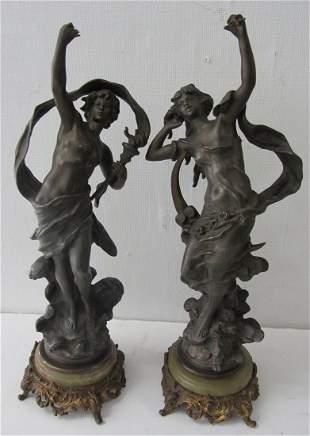 Pr. White Metal lady statues signed L. Moreau
