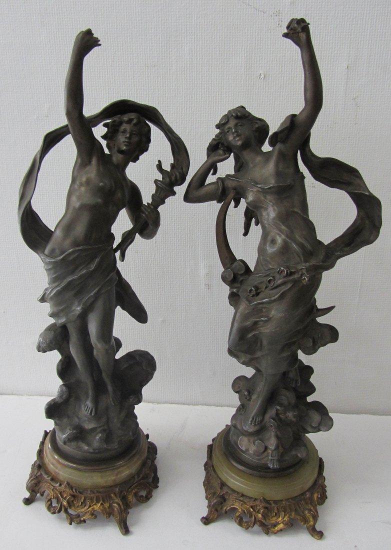 10: Pr. White Metal lady statues signed L. Moreau