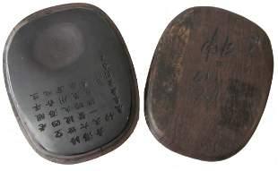 Chinese inkstone in Zitan box