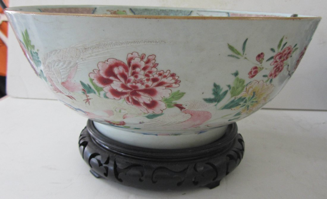 13: 19th C. Famille Rose porcelain bowl on stand