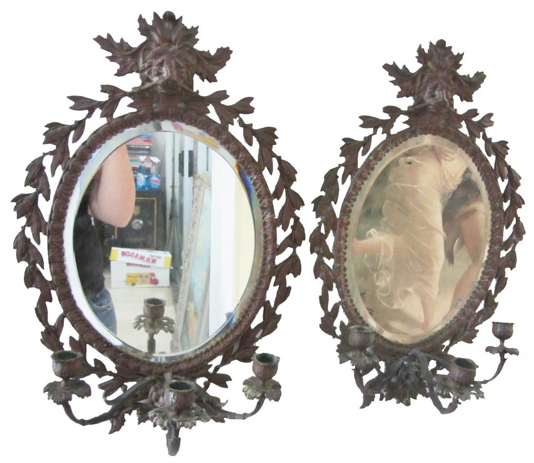14: Pr. 19th C. bevel glass mirrors with candelabras