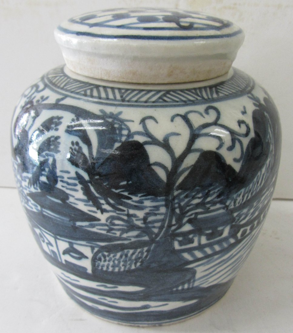 15: 20th C. Blue and White decorated ginger jar