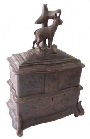 20th C. Black Forest style walnut jewelry box