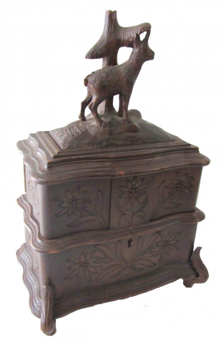 17: 20th C. Black Forest style walnut jewelry box
