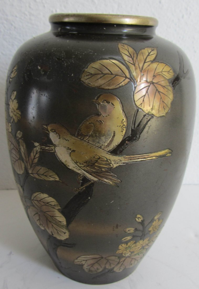 19: Rare 19th C. possibly Japanese mixed metal vase