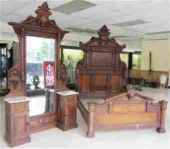 104: 19th C. American Renaissance 2 piece bedroom set