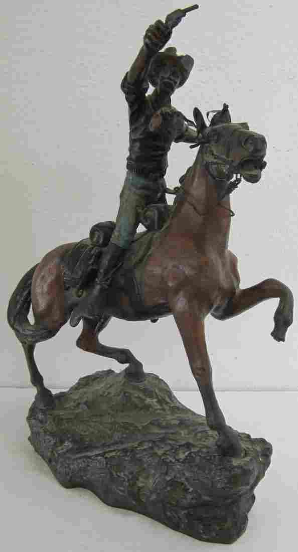 19th C Signed Kauba bronze of cowboy on horseback