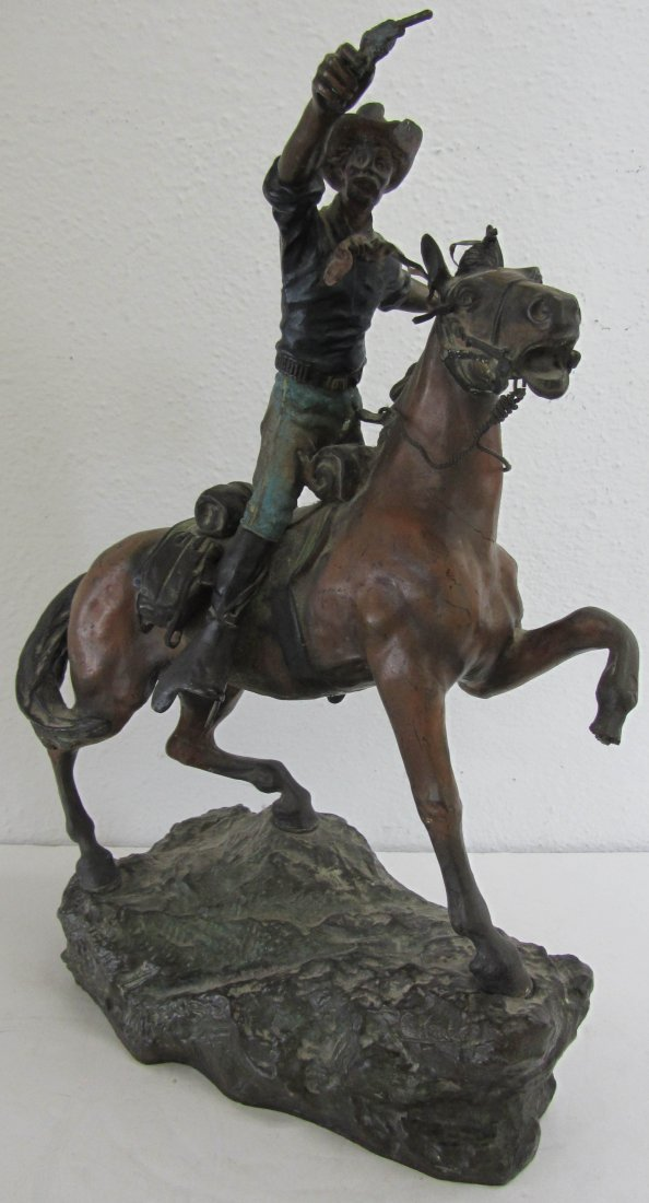 4: 19th C Signed Kauba bronze of cowboy on horseback