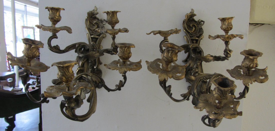10: Pr. French bronze candle sconces