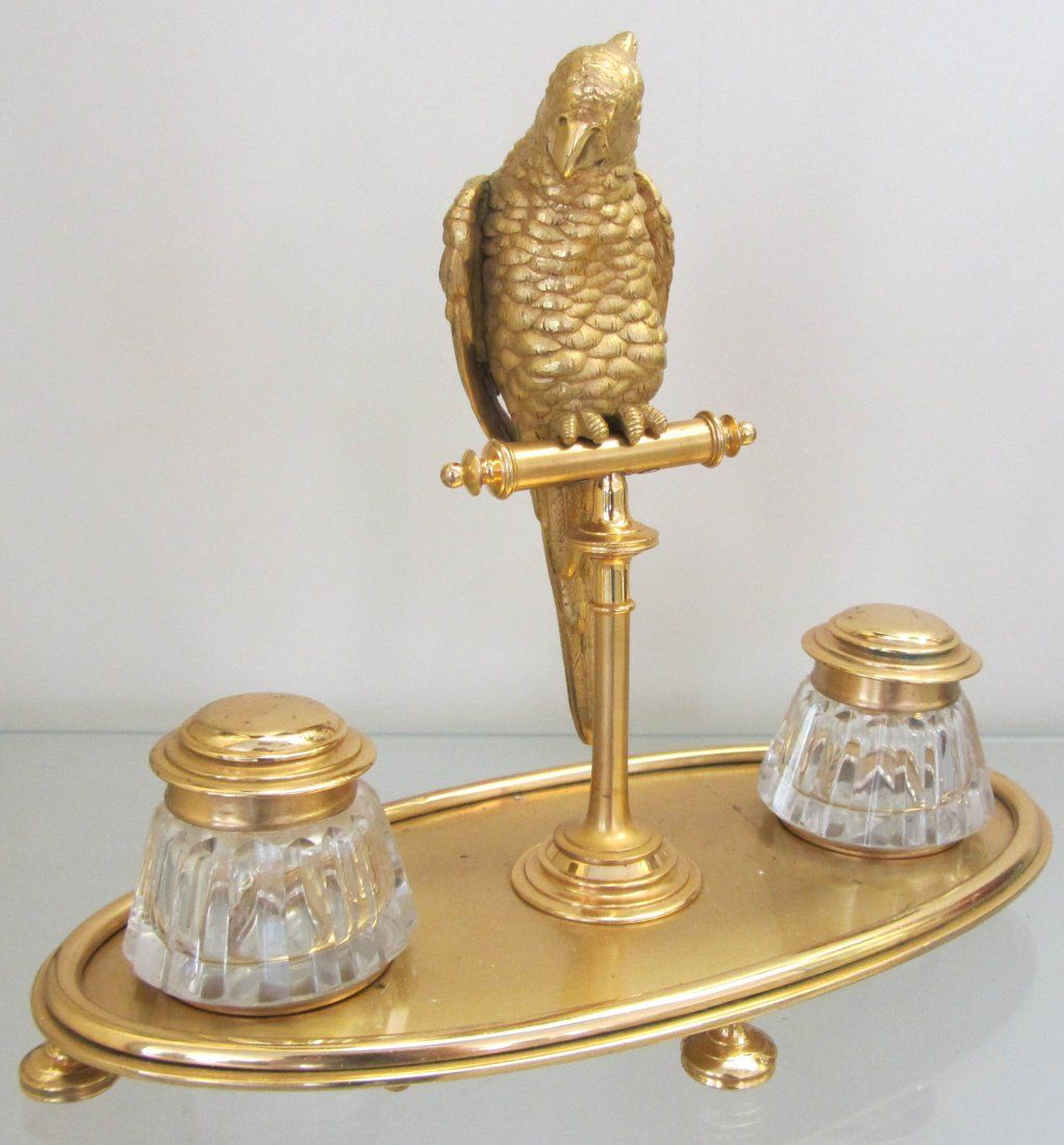 C1890 Fre. gilded brz parrot w/ Baccarat inkwells