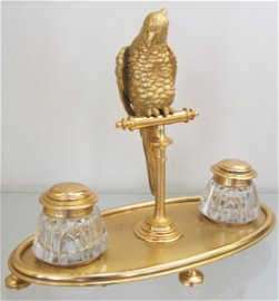 71: C1890 Fre. gilded brz parrot w/ Baccarat inkwells