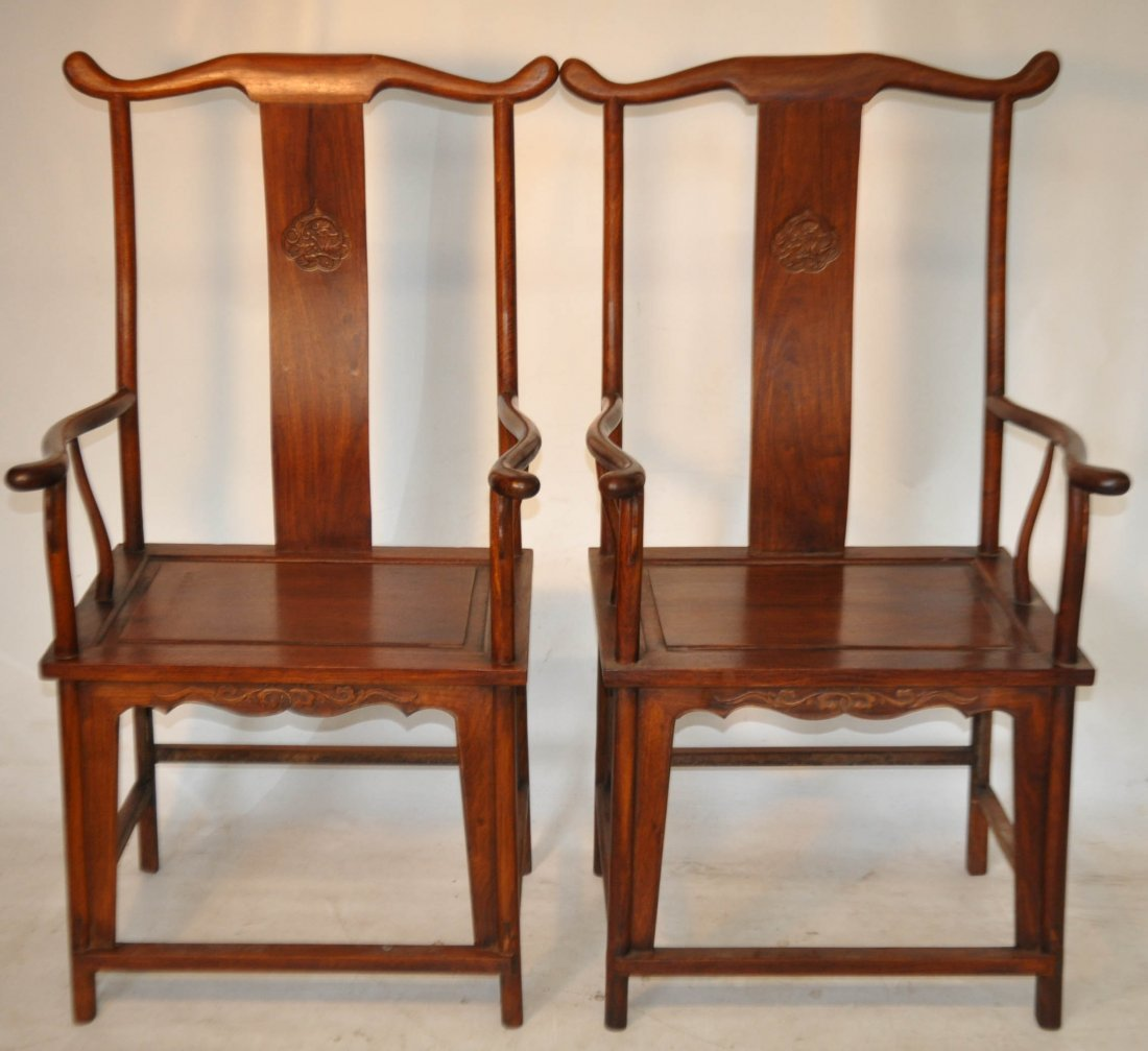 254: Early 20th C. Pr. Huanghuali wood arm chairs