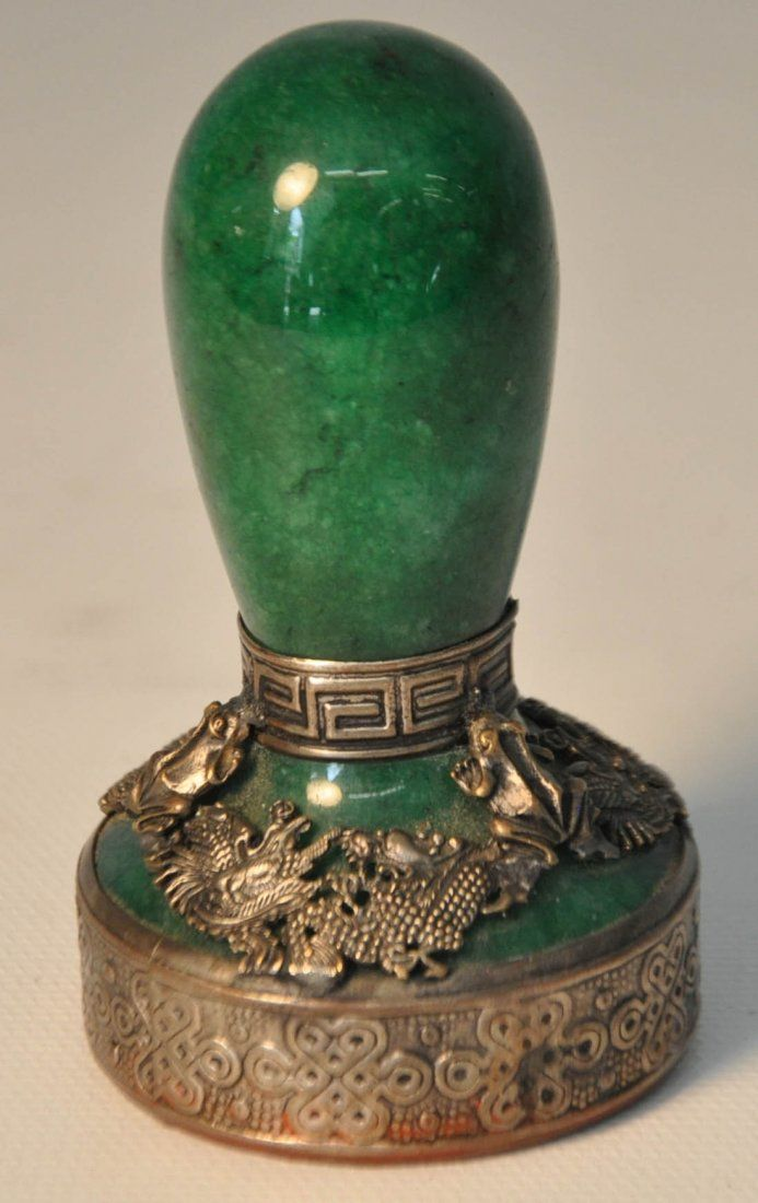 Chinese antique green jade seal