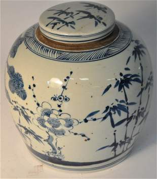 19th C. Blue and white decorated porcelain jar