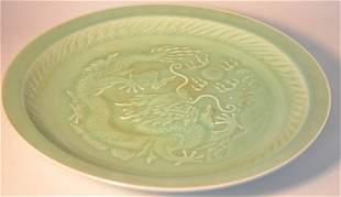 Green glazed porcelain plate