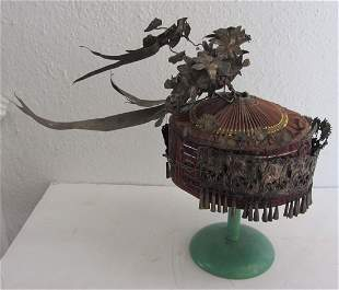 C1900 Chinese hat decorated with low grade silver