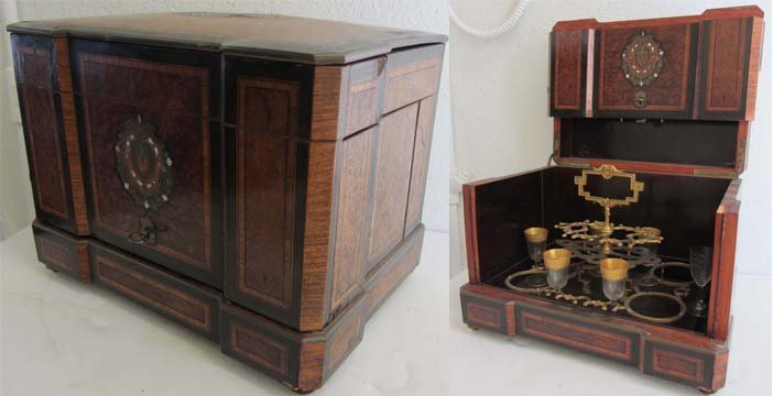 21A: 19th C. Tantalus case with detail inlay