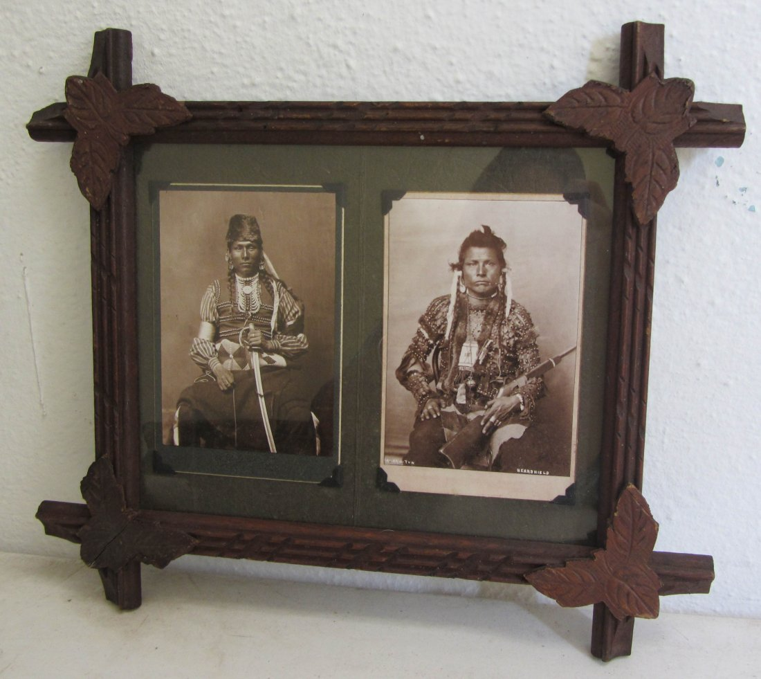 2: Set of American Indian photos in walnut frame