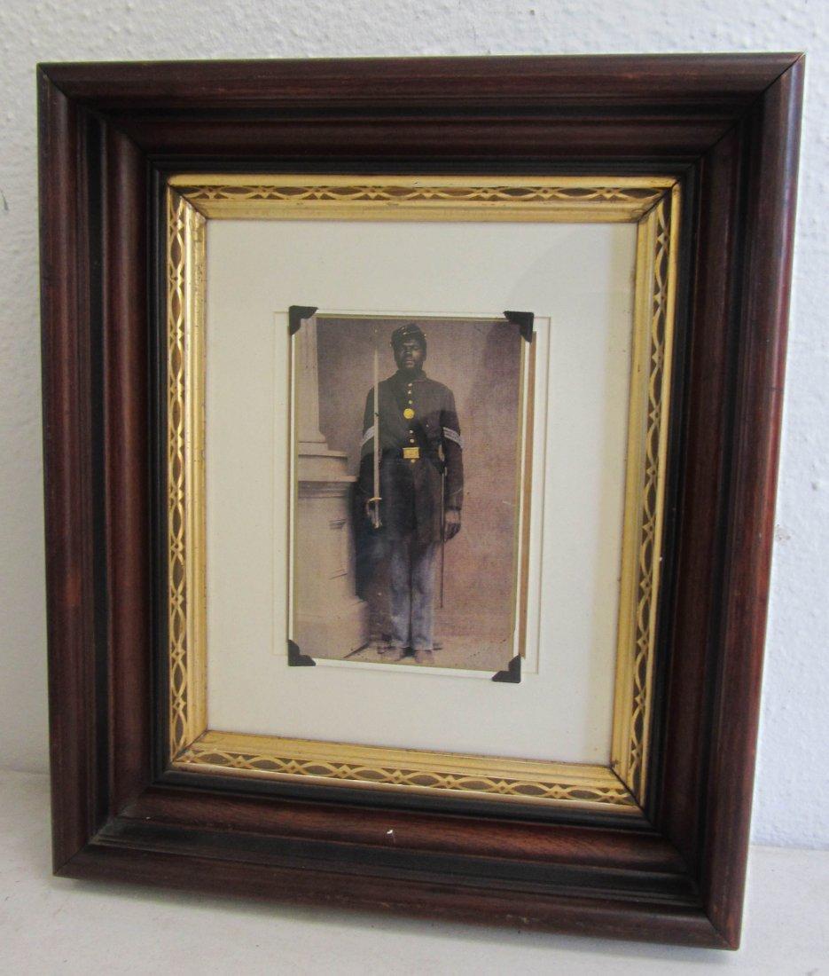 3: Photo of black civil war soldier in walnut frame