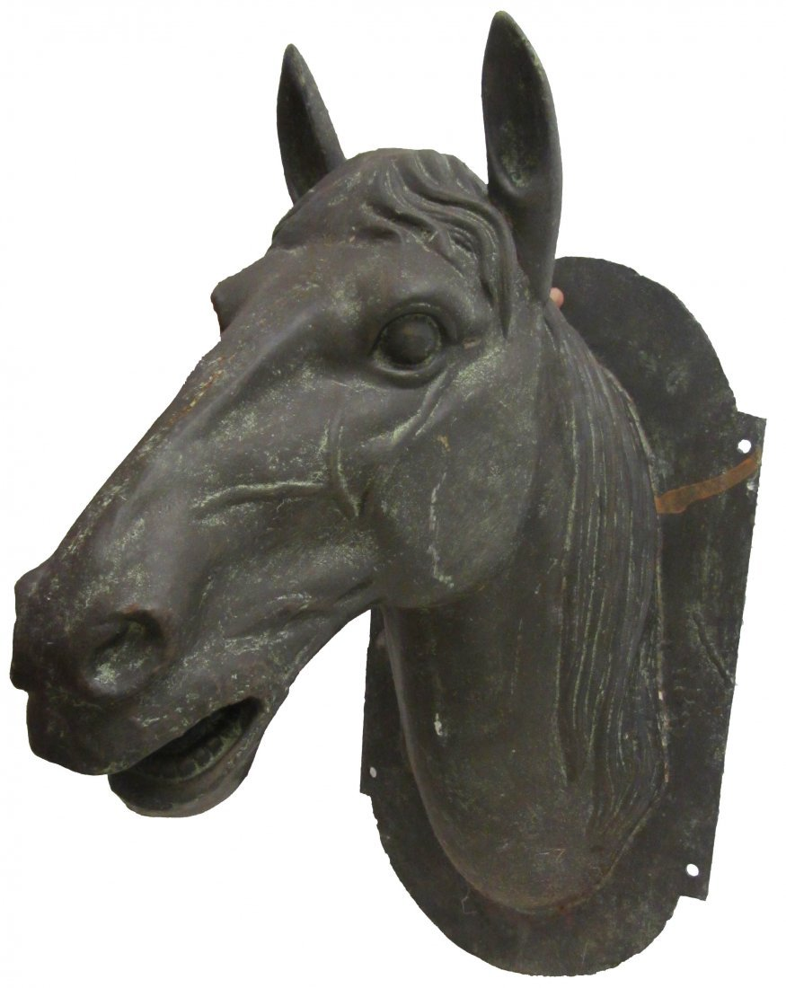 4: C1900 Lrg Cast iron French wall mount horse head