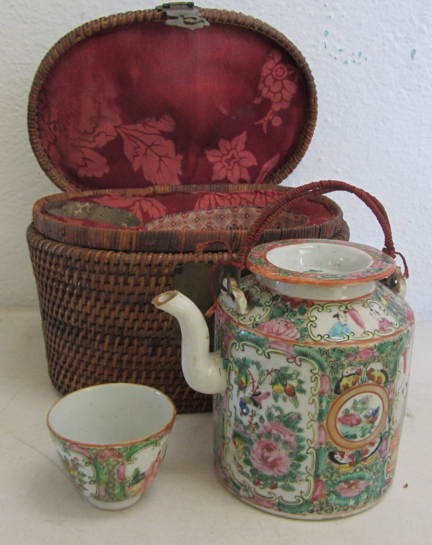 5: Ea. 19th C. Rose Medallion teapot and cup