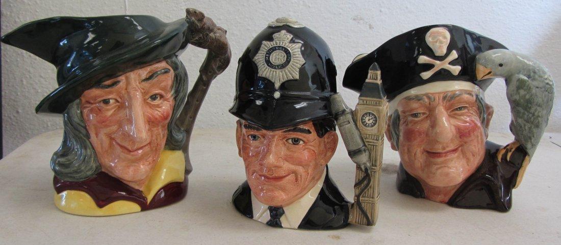 """8: 3 Royal Doulton Toby mugs 7""""h"""