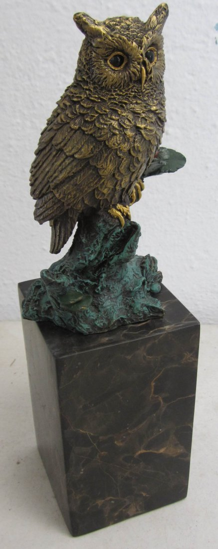 """15: 20th C. bronze 11""""h painted owl"""