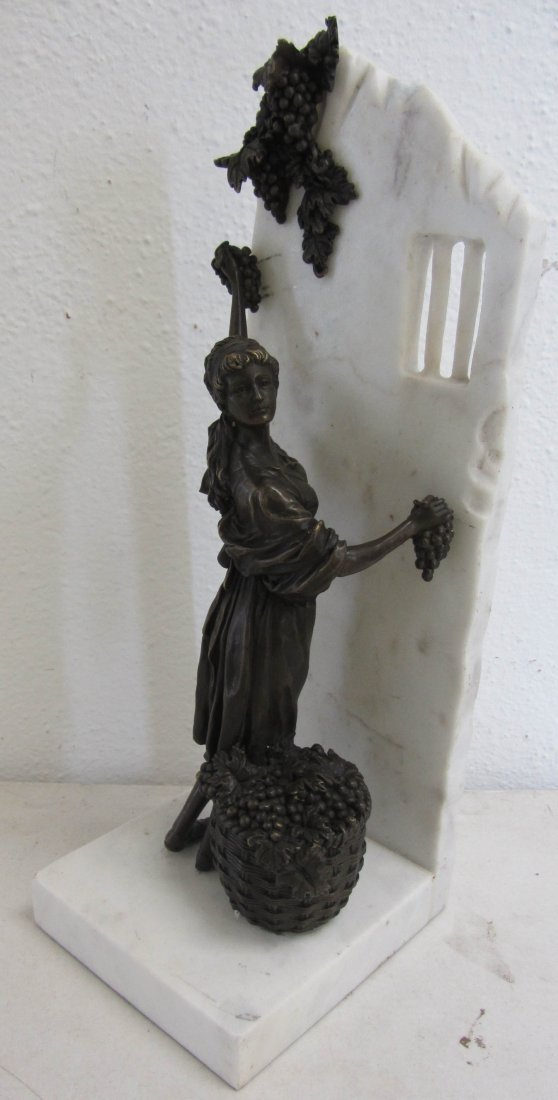 18: 20th C. Bronze woman on marble base
