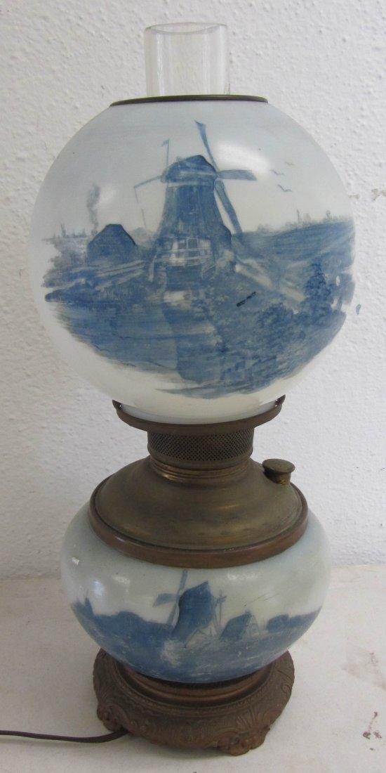 19: 19th C. Delft oil lamp