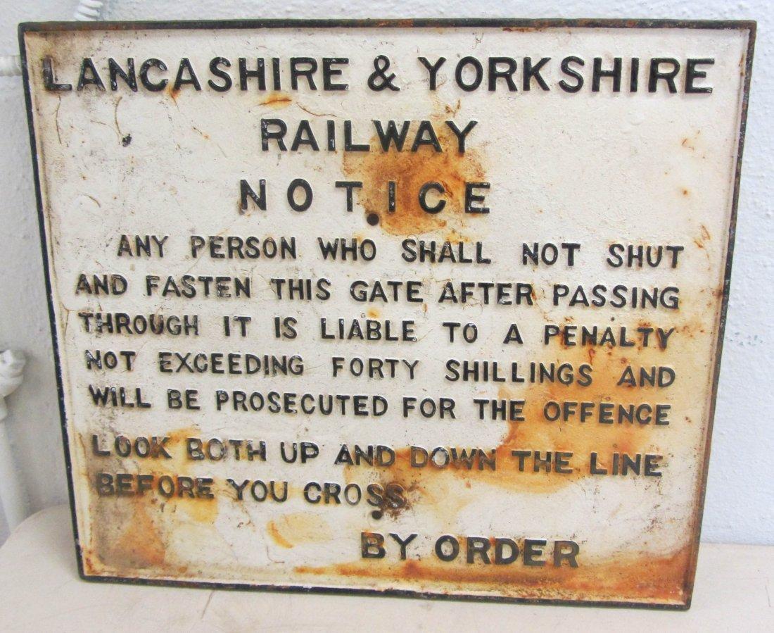 22: Cast iron Lancashire railroad sign