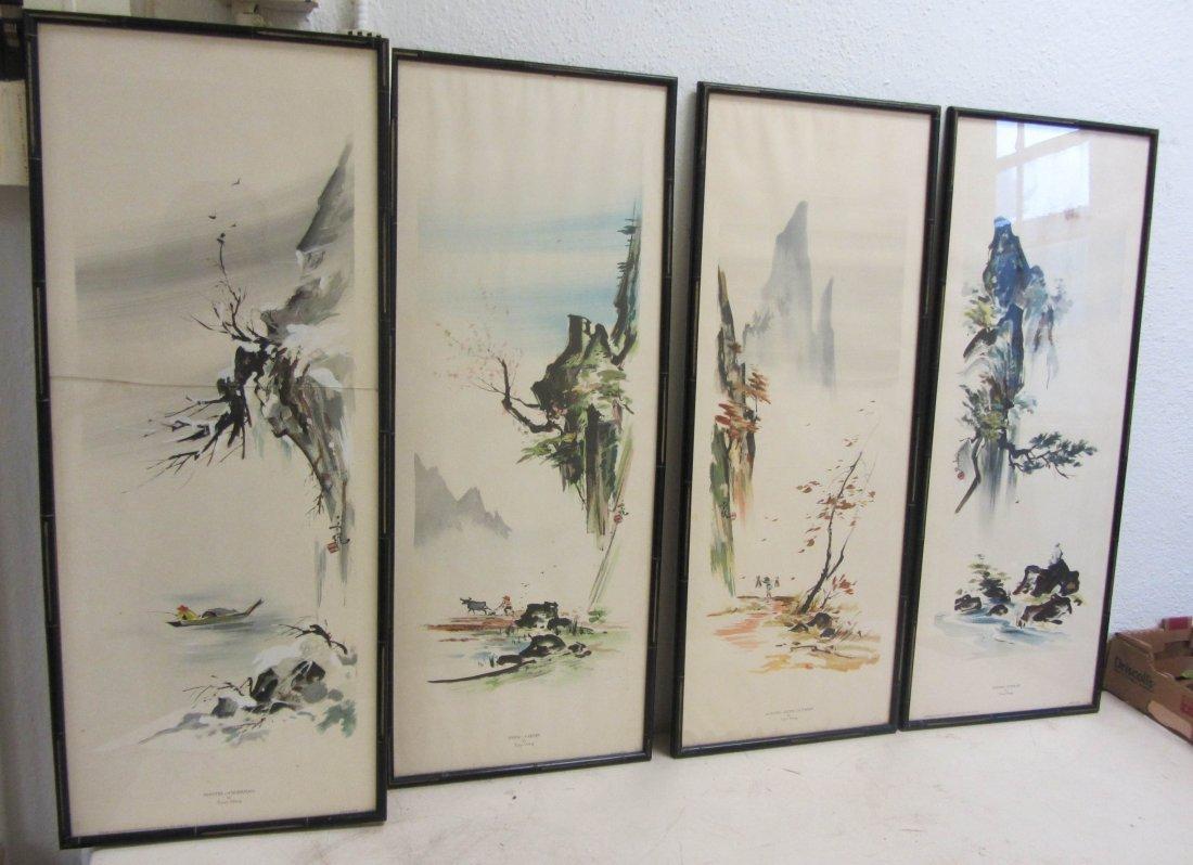 58: 4 sgd. Tyrus Wong chinese watercolors