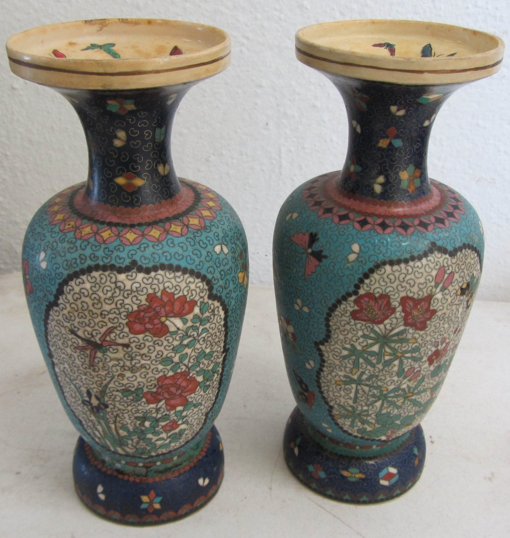 7: Pr. of Chinese potter urns with cloisonne dec.